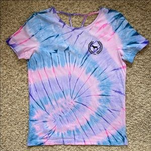 VS PINK Custom Tie-Dye Strappy Back Campus Tee